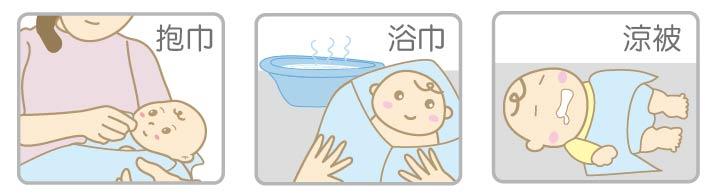 proimages/Cottons&BabyClothing/BabyClothesSeries/GauzeBathTowel/浴巾功用.jpg