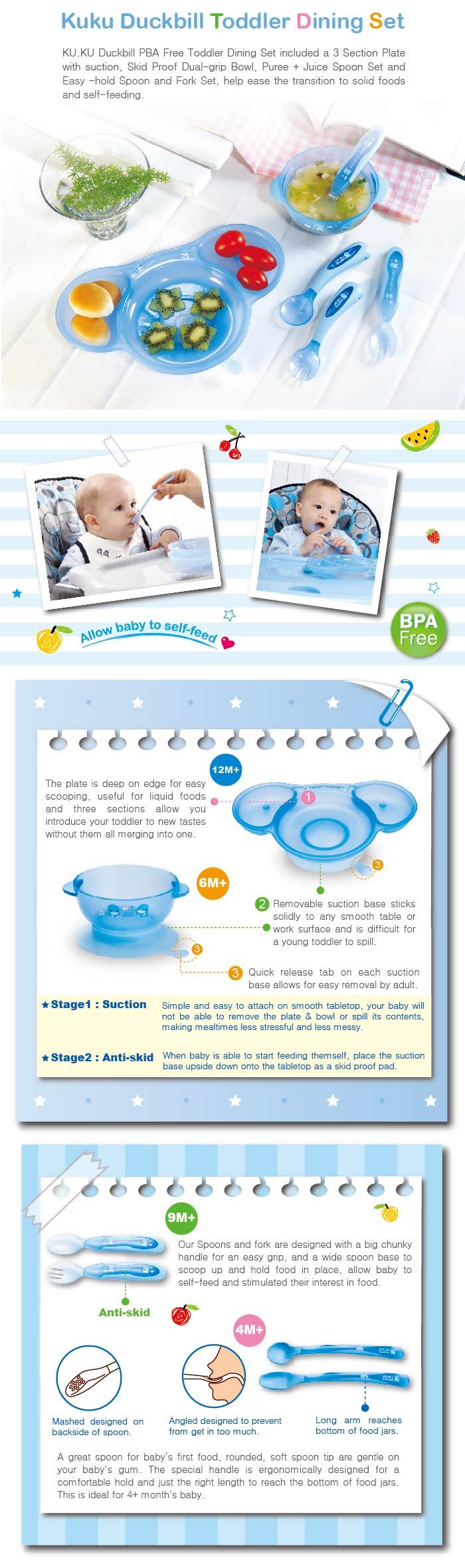 Kuku Duckbill Ku5443 Dining Set Bowls Cutlery Sponn Cat More Info